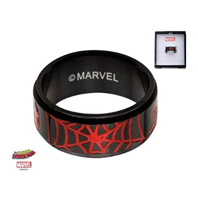 Spider-Man Web Enamel - Stainless Steel Premium Quality Mens Spinner Ring, Size - 13