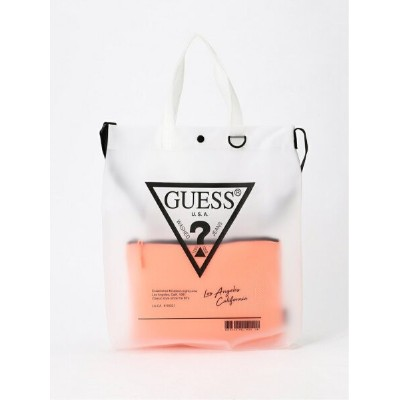 【SALE/30%OFF】GUESS (W)TRIANGLE LOGO CLEAR TOTE BAG ゲス バッグ ショルダーバッグ ベージュ イエロー【送料無料】