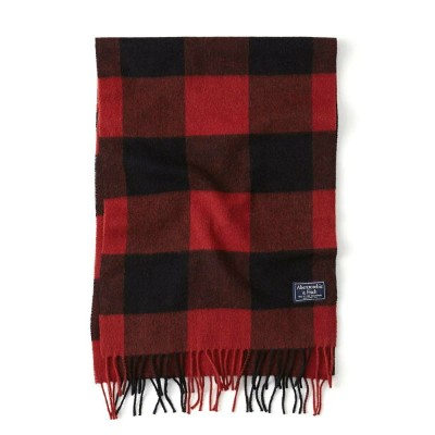 Abercrombie&Fitch 正規品 (アバクロンビー&フィッチ) ウーブンマフラー (Woven Scarf) 新品(Red Plaid)男女兼用