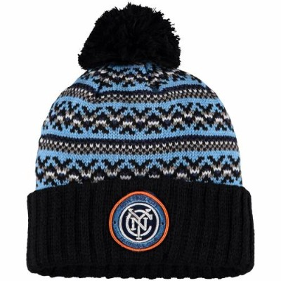 ミッチェル&ネス MITCHELL & NESS シティ ニット 黒 ブラック & 【 BLACK MITCHELL NESS NEW YORK CITY FC JACKED POM CUFFED...