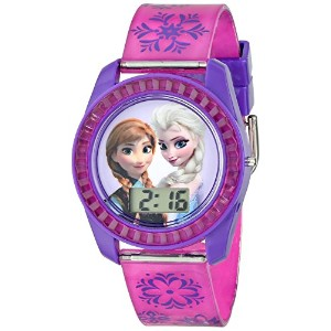 Disney ディズニー アナと雪の女王 キッズ腕時計 Kids' FZN3598 Frozen Anna and Elsa Digital Watch with Purple Snowflake...