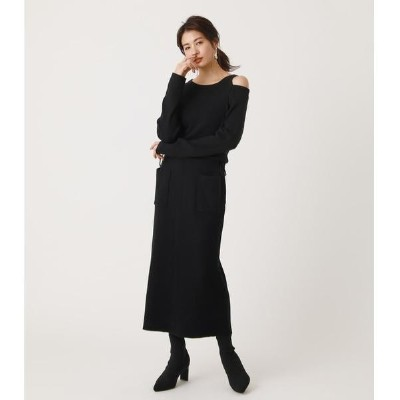 SHOULDER SLIT KNIT ONE-PIECE/アズールバイマウジー