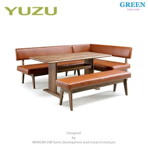 34%OFF [4点セット] GREEN home style YUZU SOFA LD TABLE + LD CHAIR A + LD CHAIR B[R] + LD BENCH (グリーン ユズ...
