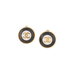 Chanel Pre-Owned 1993's CC Logos Button Earrings - GOLD, BLACK, WHITE