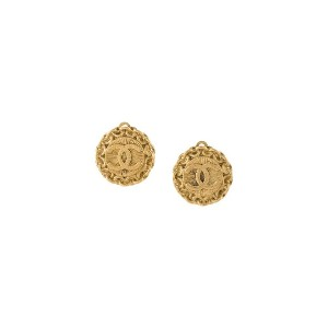 Chanel Pre-Owned 1995's CC Logos Button Earrings - Gold