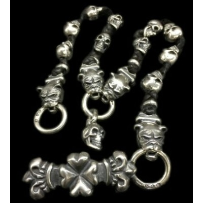 4Heart Crown Keeper With 4 Long Neck Bulldogs & 10 Slant Head Skulls Braid Leather Wallet Chain...