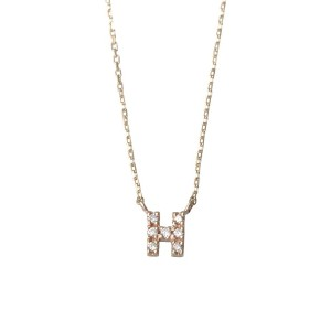 mint jam K10YG TINY LETTERED Diamond NECKLACE 【H】○LP04671 Yellow gold ジュエリー・アクセサリー