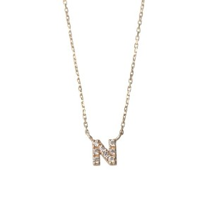 mint jam K10YG TINY LETTERED Diamond NECKLACE 【N】○LP04672 Yellow gold ジュエリー・アクセサリー