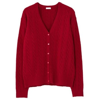 【SALE/30%OFF】LITRAL CABLE KNIT CARDIGAN ハウント ニット カーディガン レッド【送料無料】