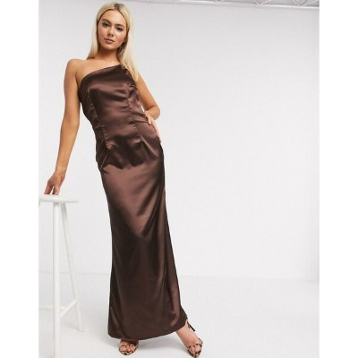 ティエフエヌシー レディース ワンピース トップス TFNC Bridesmaid one shoulder satin maxi dress in chocolate Brown