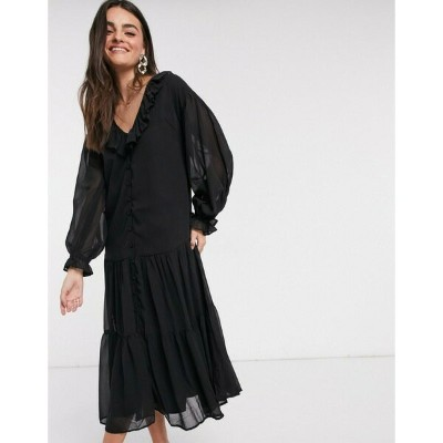 エイソス レディース ワンピース トップス ASOS DESIGN button through ruffle front tiered maxi dress in black Black