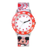 ディズニー 腕時計 キッズ 時計 子供用 ミッキー Disney Kids' W000286 Mickey Mouse Stainless Steel Time Teacher Red Bezel...