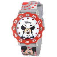 ディズニー 腕時計 キッズ 時計 子供用 ミッキー Disney Kids' W000851 Tween Mickey Mouse Stainless Steel Red Bezel Printed...