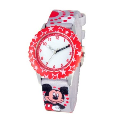 ディズニー 腕時計 キッズ 時計 子供用 ミッキー Disney Kids' W000288 Mickey Mouse Stainless Steel Time Teacher Red Bezel...