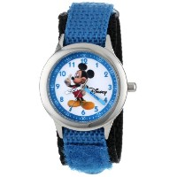 "ディズニー 腕時計 キッズ 時計 子供用 ミッキー Disney Kids' W000011 ""Mickey Mouse"" Stainless Steel Time Teacher Watch"