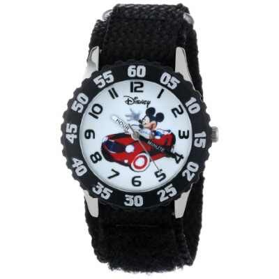 ディズニー 腕時計 キッズ 時計 子供用 ミッキー Disney Kids' W000975 Mickey Stainless Steel Time Teacher Black Bezel...