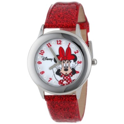 "ディズニー 腕時計 キッズ 時計 子供用 ミニー Disney Kids' W000914 ""Tween Minnie Glitz"" Stainless Steel Watch with Red..."