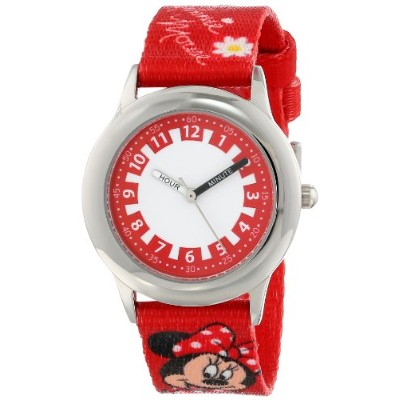 "ディズニー 腕時計 キッズ 時計 子供用 ミニー Disney Kids' W000292 ""Minnie Mouse"" Stainless Steel Time Teacher Watch"