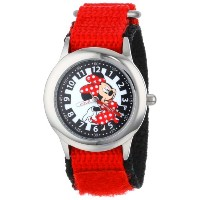 ディズニー 腕時計 キッズ 時計 子供用 ミニー Disney Kids' W001026 Minnie Stainless Steel Time Teacher Red Nylon Strap...
