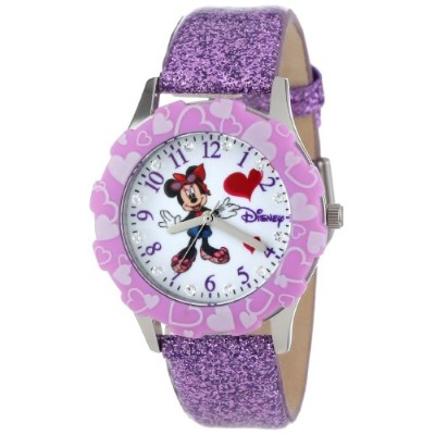 ディズニー 腕時計 キッズ 時計 子供用 ミニー Disney Kids' W000983 Tween Minnie Mouse Stainless Steel and Purple Glitter...