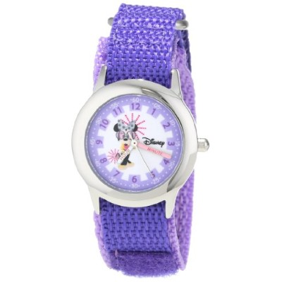ディズニー 腕時計 キッズ 時計 子供用 ミニー Disney Kids' W000363 Minnie Mouse Stainless Steel Time Teacher Purple...