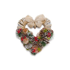 【35%OFF】クリスマスリース Ribbon Heart Wreath-Pine Red Berry