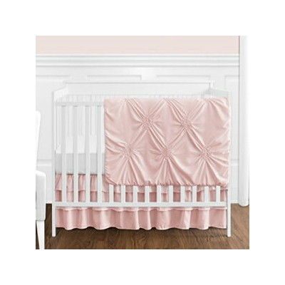 Solid Color Blush Pink Shabby Chic Harper Baby Girl Crib Bedding Set without Bumper by Sweet Jojo...