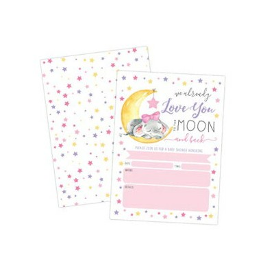 Your Main Event Prints Baby Shower Invitation, Love You to The Moon and Back Baby Shower Invitation...