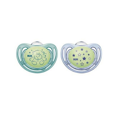 NUK Airflow Glow-in-The-Dark Pacifiers, 6-18 Months, 2 Pack