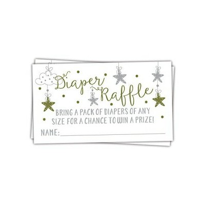 m&h invites 50 Twinkle Twinkle Little Star Diaper Raffle Tickets | Gender Neutral Baby Shower Game