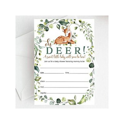Moonrise Papery Set of 25 Oh Deer! Baby Shower Invitations, Gender Neutral Baby Shower Invitations,...
