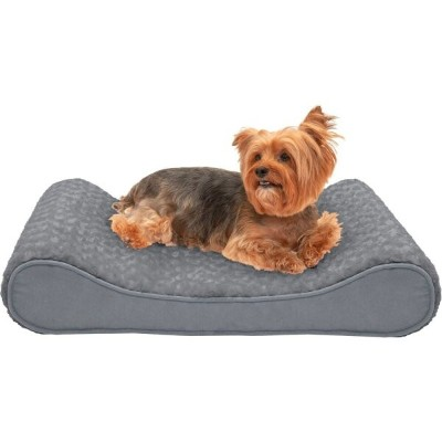 FurHaven ファーヘイヴン ペットグッズ 犬用品 ベッド・マット・カバー ベッド【Ultra Plush & Suede Luxe Lounger Memory Top Dog Bed】gray