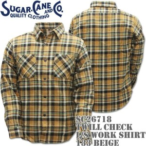 Sugar Cane(シュガーケーン)TWILL CHECK L/S WORK SHIRT Beige SC26718-133