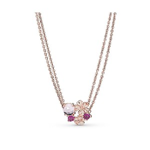 PANDORA/パンドラ Pink Peach Blossom Flower Double Chain Necklace【三越伊勢丹/公式】 ジュエリー~~ネックレス