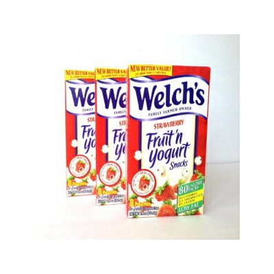 Welch's Fruit n Yogurt Snacks Strawberry 8 Pouches, (Pack of 3)