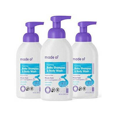 Organic Baby Wash and Shampoo Foaming by MADE OF - for Sensitive Skin and Baby Eczema Wash - NSF...