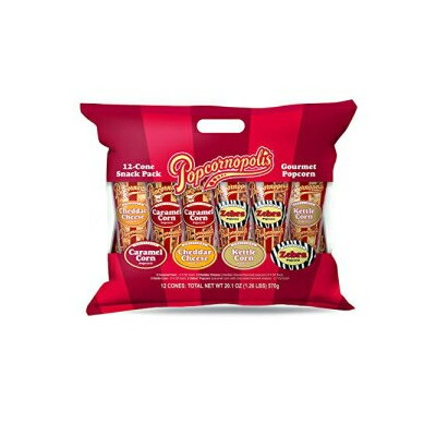 Popcornopolis Gourmet Popcorn Snacks, 12 Cone Variety Snack Packs (Gift Cone) – Perfect Party...