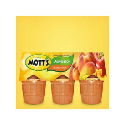 Mott's, Mango Peach Applesauce Blend, 6 - 4oz Cups, 24oz Package (Pack of 4)