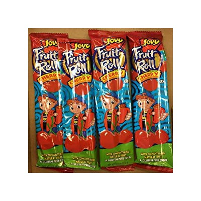0.75oz Jovy Fruit Roll Snack, Cherry (4 Packets Per Order)