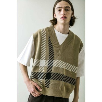 【SALE/50%OFF】BEAUTY & YOUTH UNITED ARROWS  monkey time  C/AC PLAID VEST/ベスト ユナイテッドアローズ アウトレット ニット...
