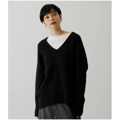 【SALE/50%OFF】AZUL by moussy SOFT TOUCH V NECK KNIT アズールバイマウジー ニット ニットその他 ブラック ホワイト