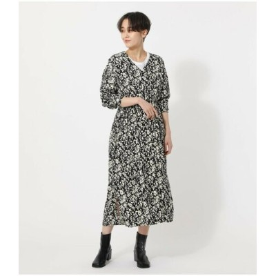 【SALE/50%OFF】AZUL by moussy BOUQUET FLOWER ONEPIECE アズールバイマウジー ワンピース 5ー9分袖ワンピース ブラック イエロー