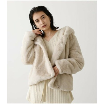 【SALE/50%OFF】AZUL by moussy FLUFFY HOODIE SHORT COAT アズールバイマウジー コート/ジャケット コート/ジャケットその他 ホワイト ブラック