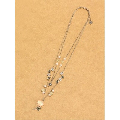 【SALE/20%OFF】axes femme (W)白詰草3wayネックレス アクシーズファム アクセサリー ネックレス ピンク ホワイト