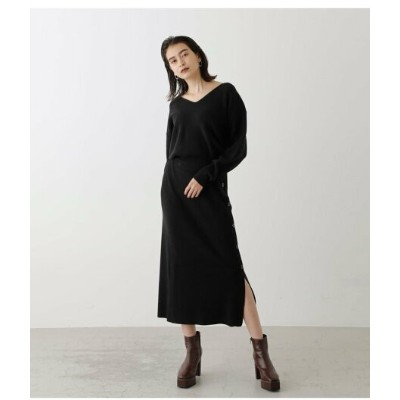 【SALE/50%OFF】AZUL by moussy SIDE BUTTON KNIT ONEPIECE アズールバイマウジー ワンピース 5ー9分袖ワンピース ブラック イエロー ブラウン