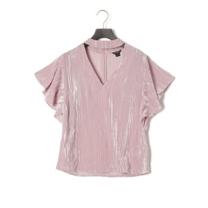 【50%OFF】EVIA TOP デザインネック ブラウス ライトピンク xs
