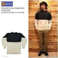 【GUERNSEY WOOLLENS/ガンジーウーレンズ】TRADITIONAL GUERNSEY SWEATER WITH CONTRAST COLOR Aran×Charcoal...