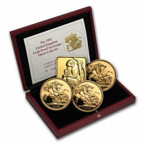 Great Britain 1992 3 Coin Gold Sovereign Proof Set