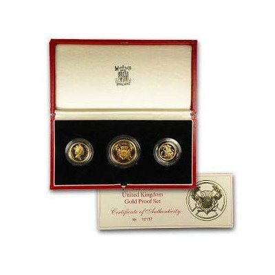 Great Britain 1986 3 Coin Gold Proof Set