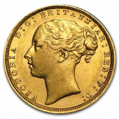 Great Britain Young Head Sovereign of Victoria (AU Details) クリアーケース付き